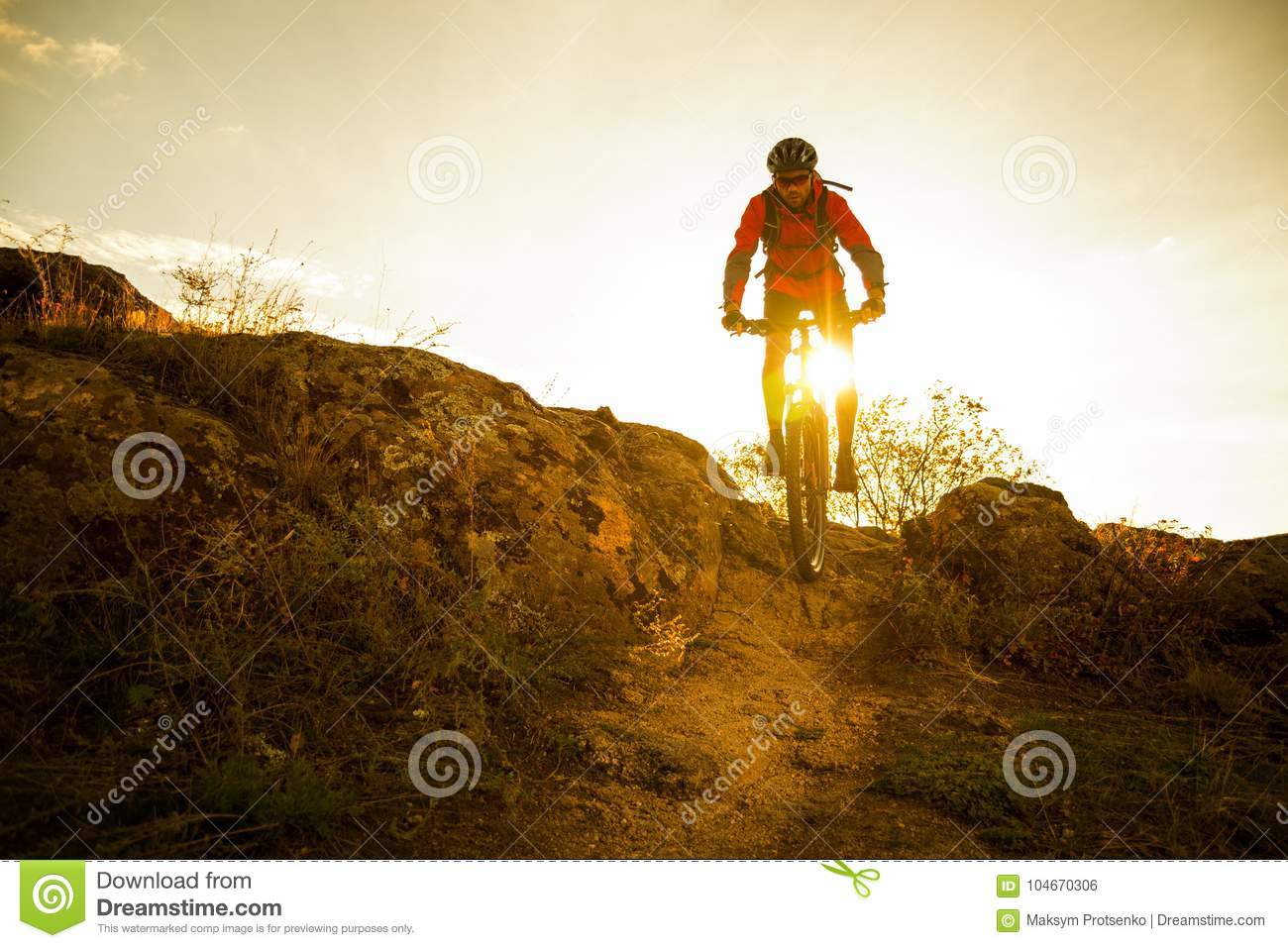 Download Cyclist In Red Riding The Bike On Autumn Rocky Trail At Sunset. Extreme Sport And Enduro Biking Concept. Stock Photo - Image of gold, outside: 104670306
