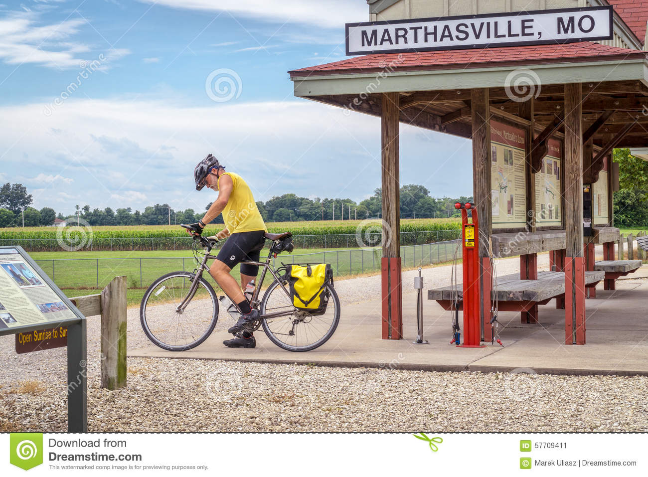 Cyclist Touring Katy Trail In Missouri Editorial Photo Image