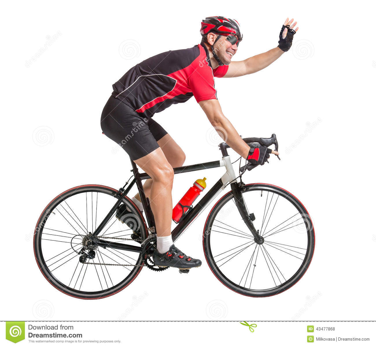Cyclist Waving Hands And Riding A Bicycle Stock Photo ...