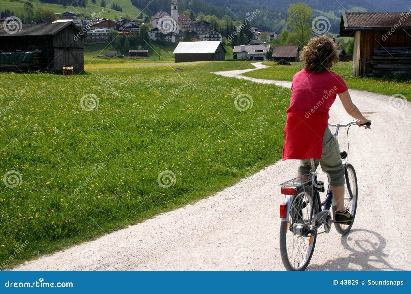 Cycliste dans le pré alpestre