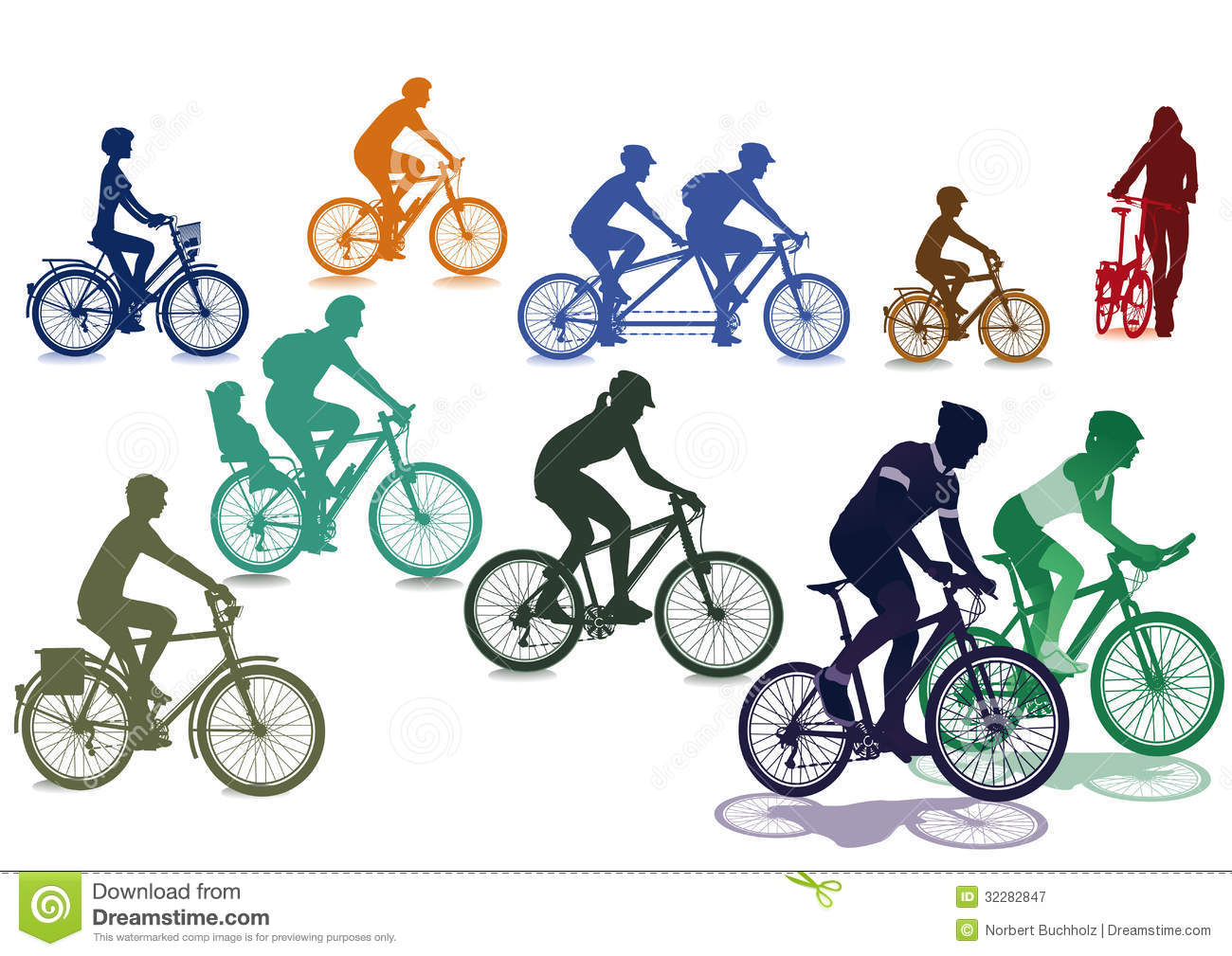 Cyclists riding bicycles stock vector. Image of cycling ...