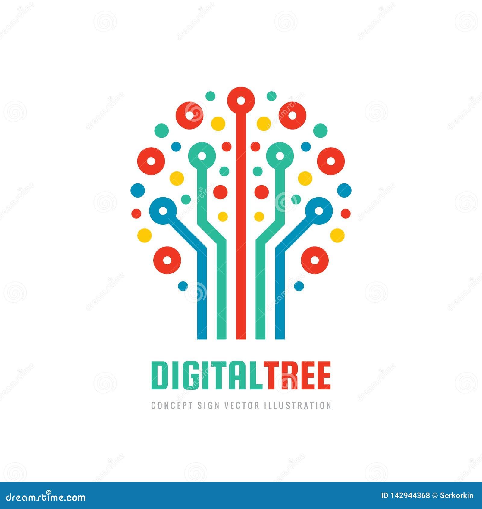 Cyfrowego drzewo - wektorowa biznesowa logo szablonu poj?cia ilustracja w mieszkanie stylu Sie? komputerowa znak Elektroniczny gr
