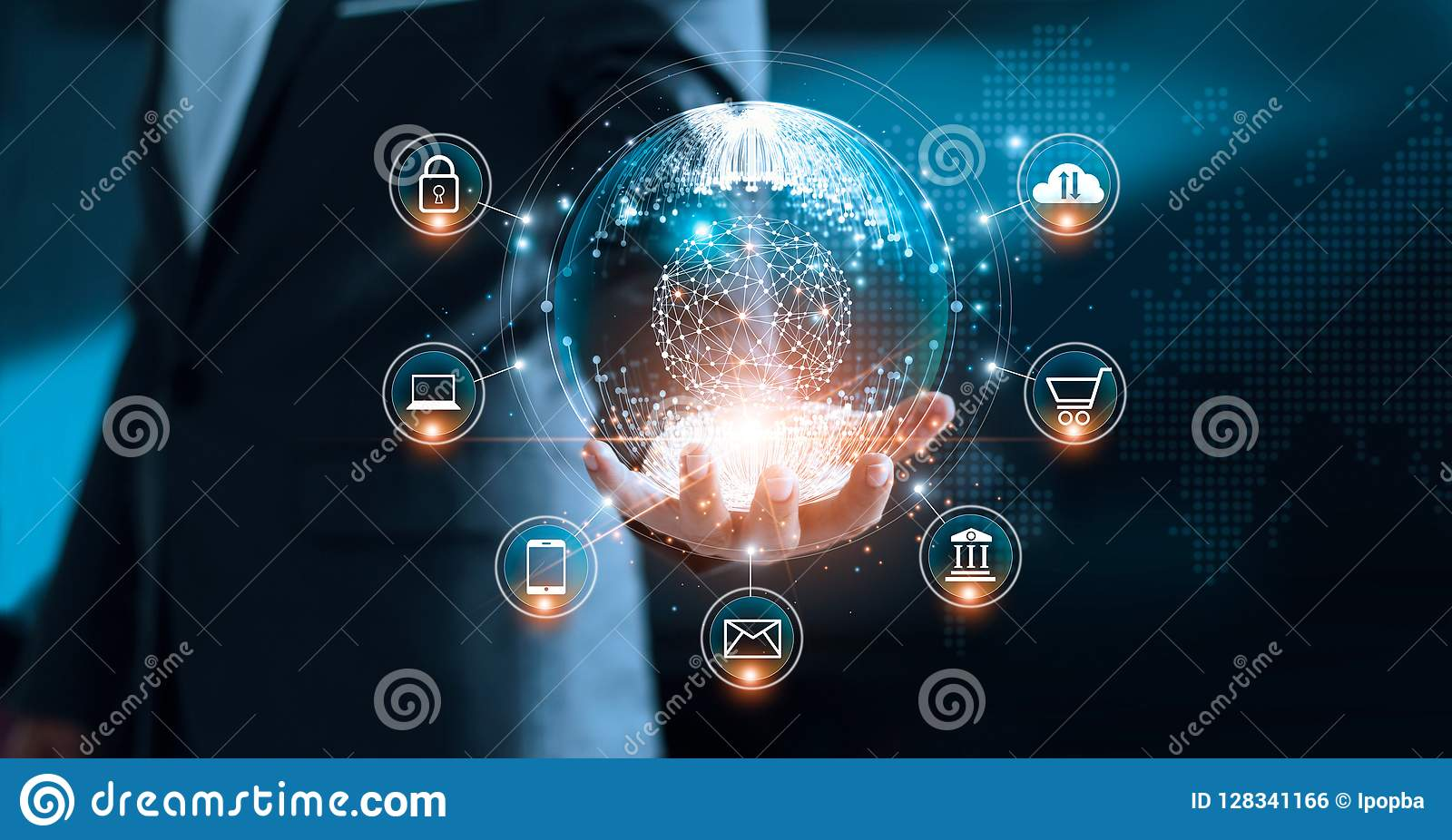 Cyfrowego marketing Biznesmen trzyma globalnego interfejs