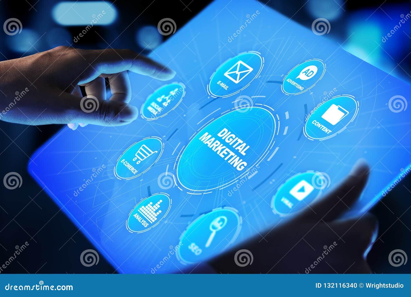 Cyfrowego marketing, reklama online, SEO, SEM, SMM Biznesu i interneta pojęcie
