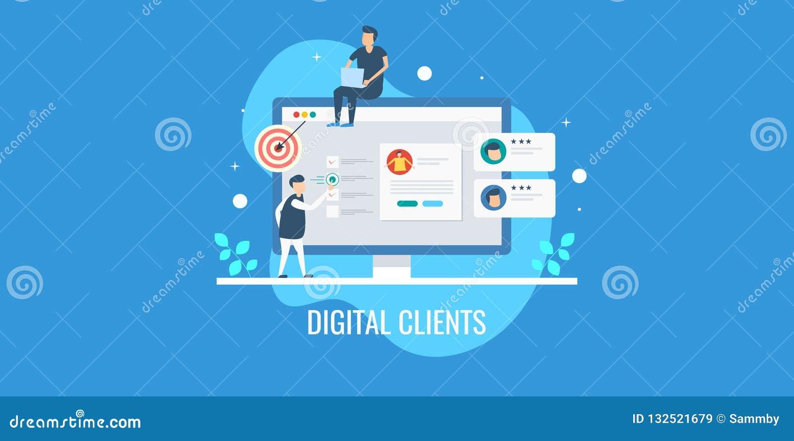 Cyfrowego marketingu klienta drużynowy analizuje profil, tropiący klienta zachowanie, celuje nową perspektywę klienci Płaski szta