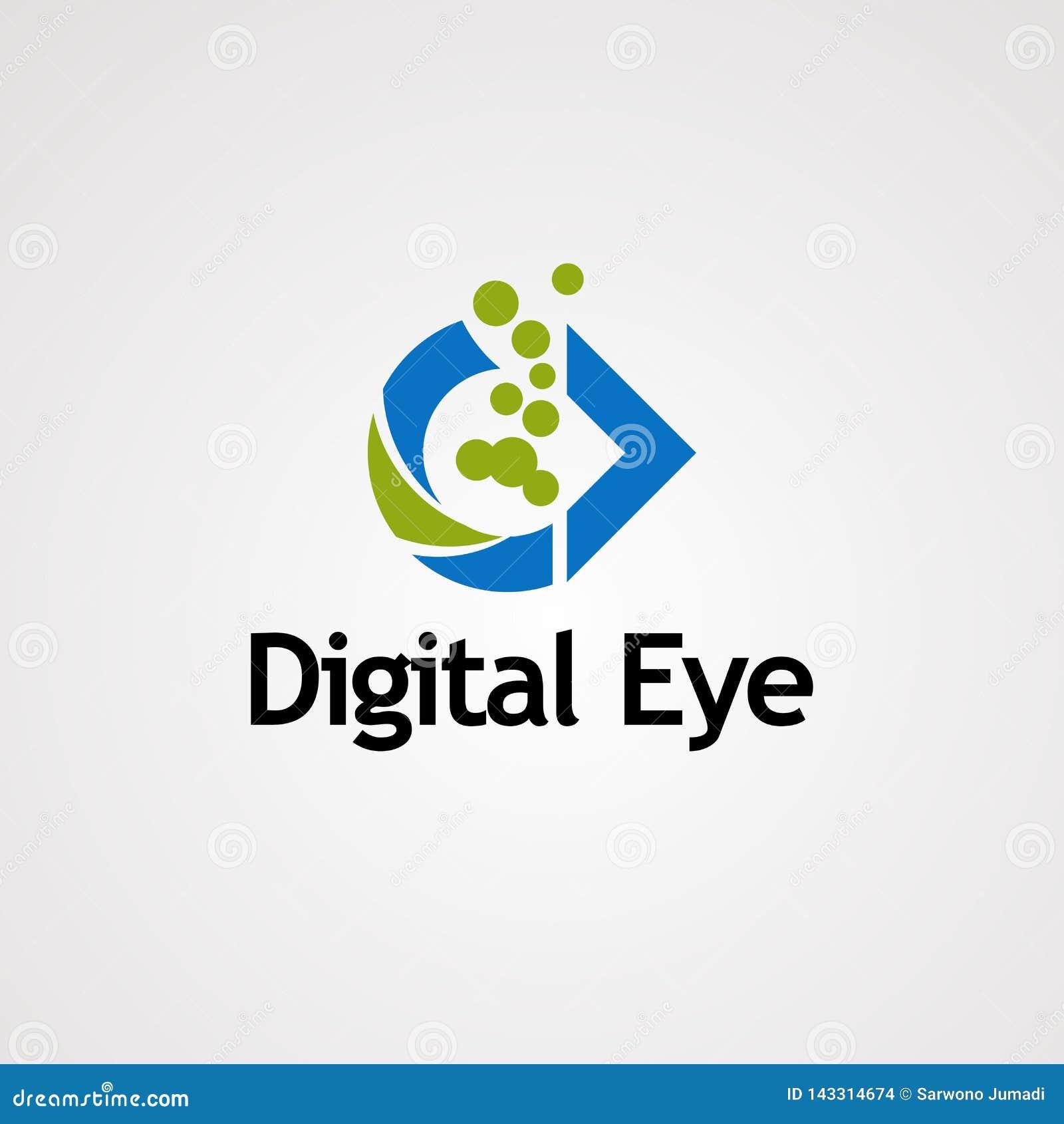 Cyfrowego oko z zielonym bąbel kropki logo wektorem, ikoną, elementem i szablonem dla biznesu,