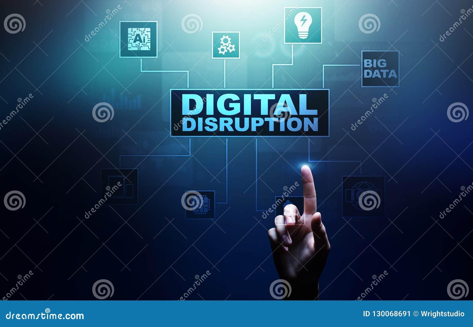 Cyfrowego zakłócenie Destrukcyjni biznesowi pomysły IOT, sieć, mądrze miasto i maszyny, duzi dane, Sztuczna inteligencja
