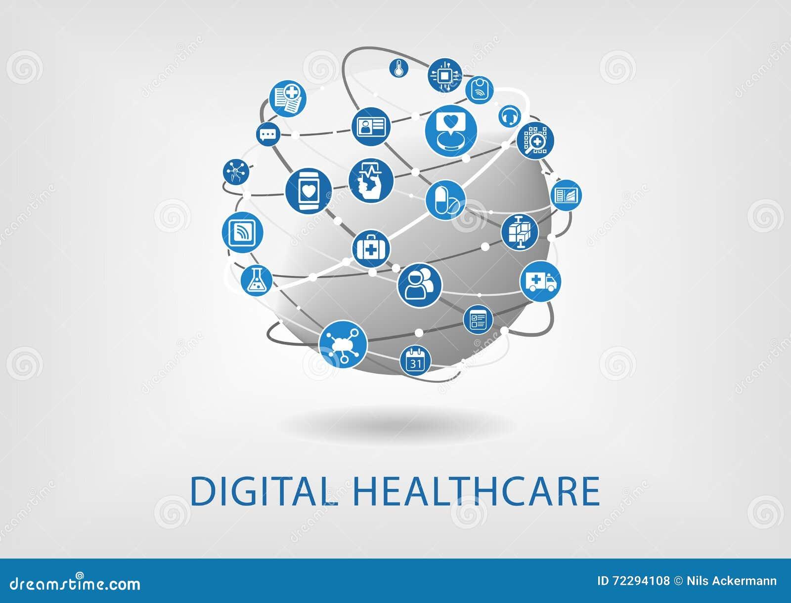 Cyfrowej opieka zdrowotna infographic jako ilustracja