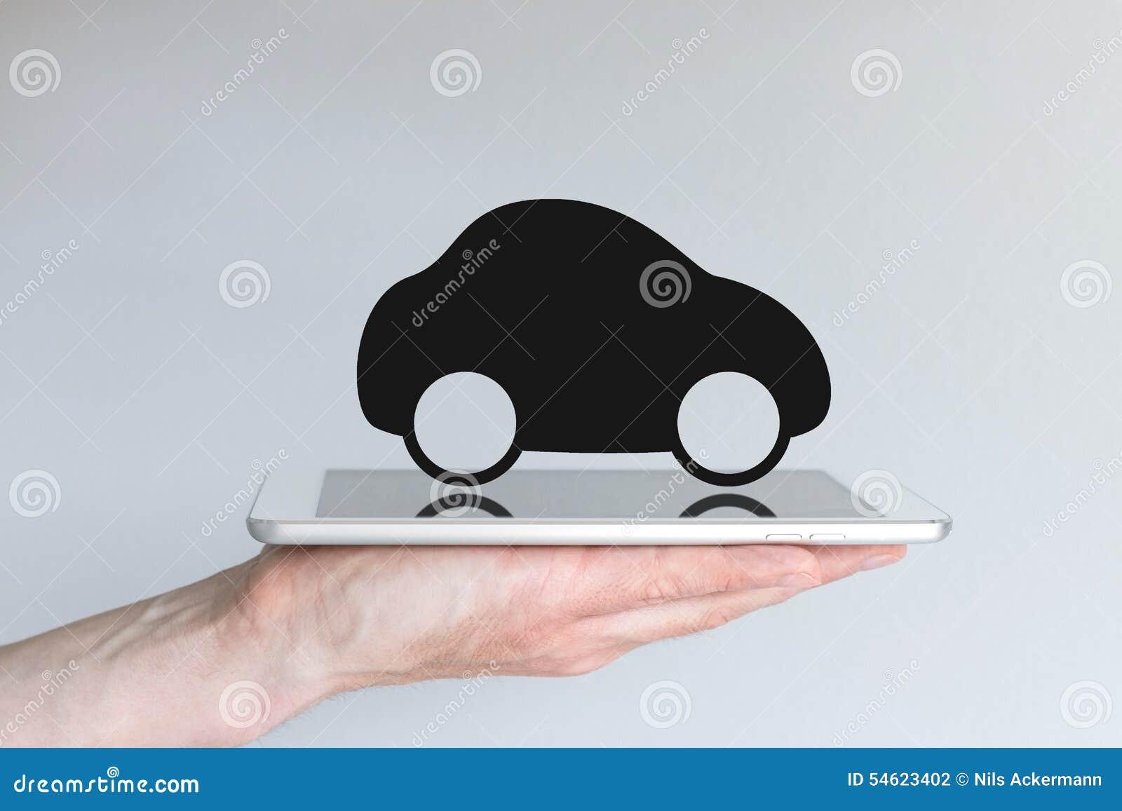 Cyfrowej ruchliwość z samochodową ikoną na pastylce i transport