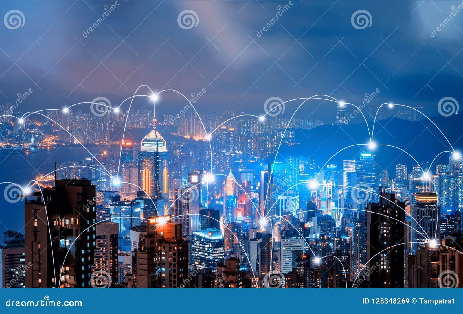 Cyfrowej sieci związku linie Hong Kong Victo i śródmieście