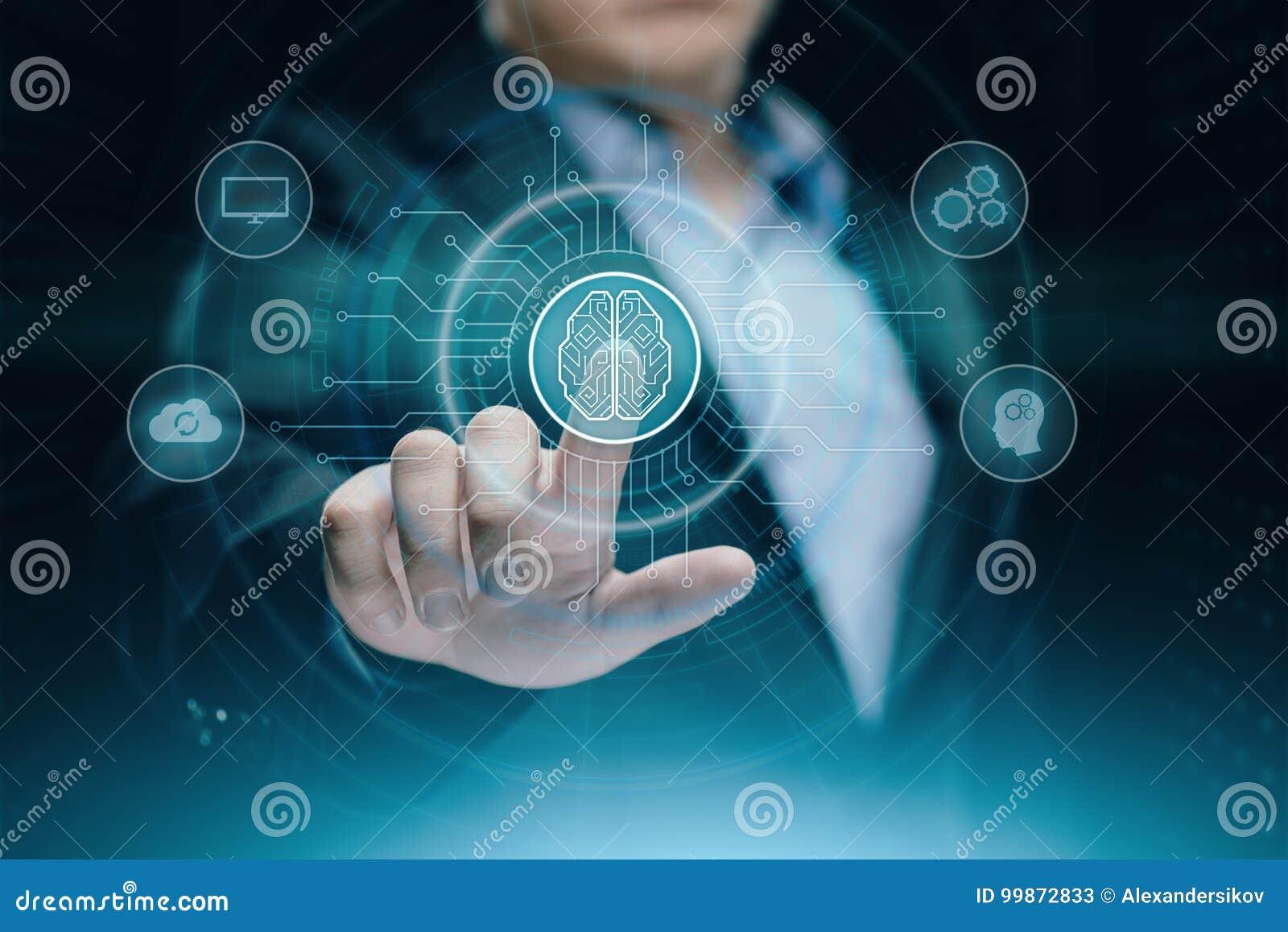 Cyfrowej Sztucznej inteligenci AI maszynowego uczenie technologii Internetowej sieci Móżdżkowy Biznesowy pojęcie