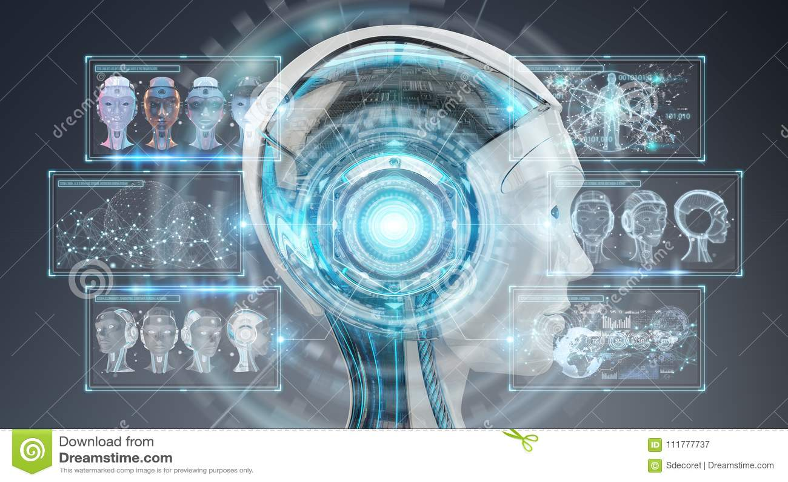 Cyfrowej sztucznej inteligenci cyborga interfejsu 3D rendering