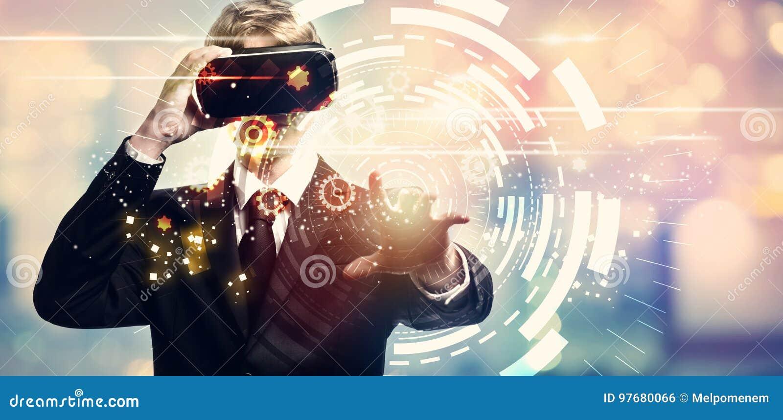 Cyfrowej techniki okrąg z biznesmenem używa rzeczywistość wirtualną