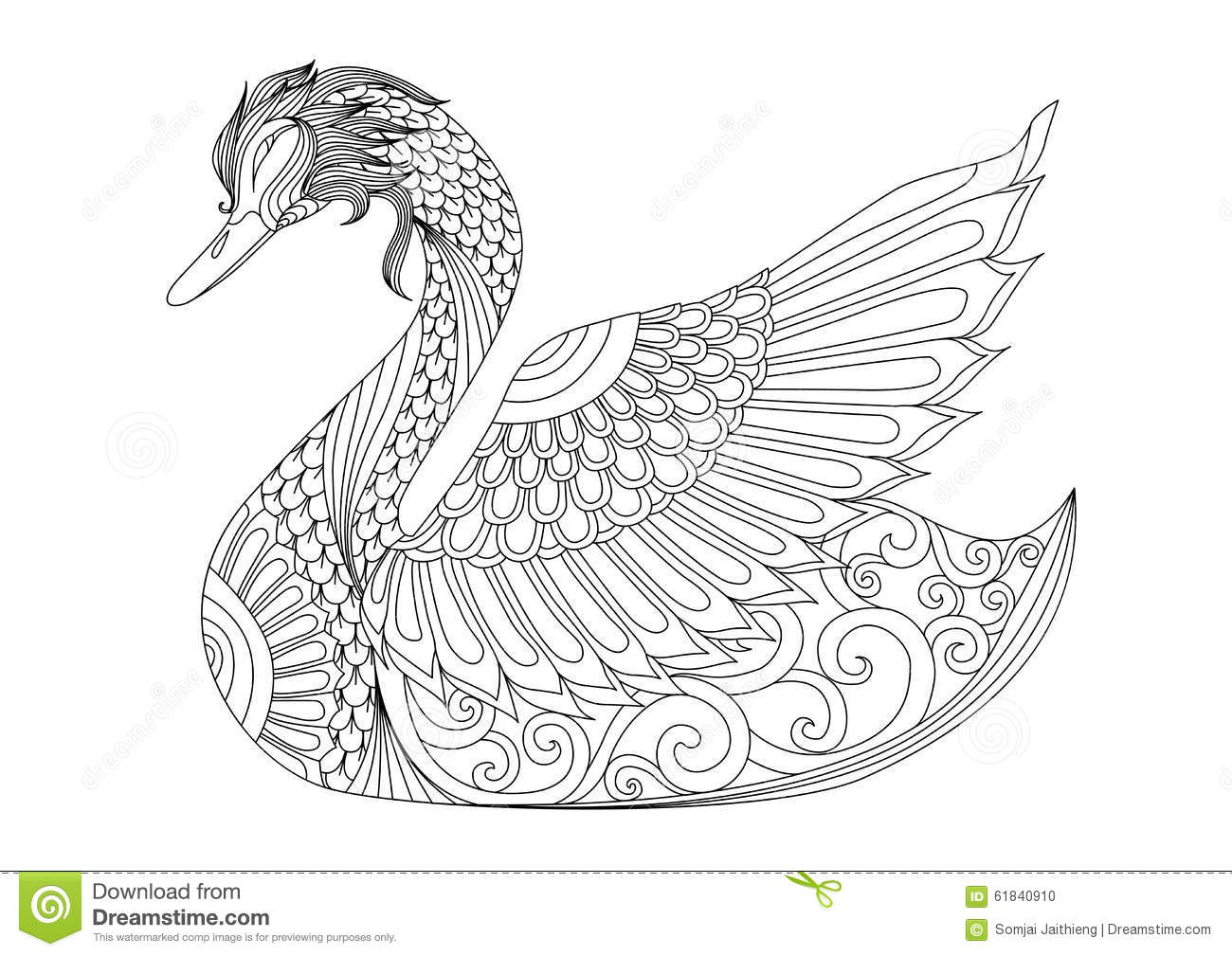 Hard Swan Coloring Pages
