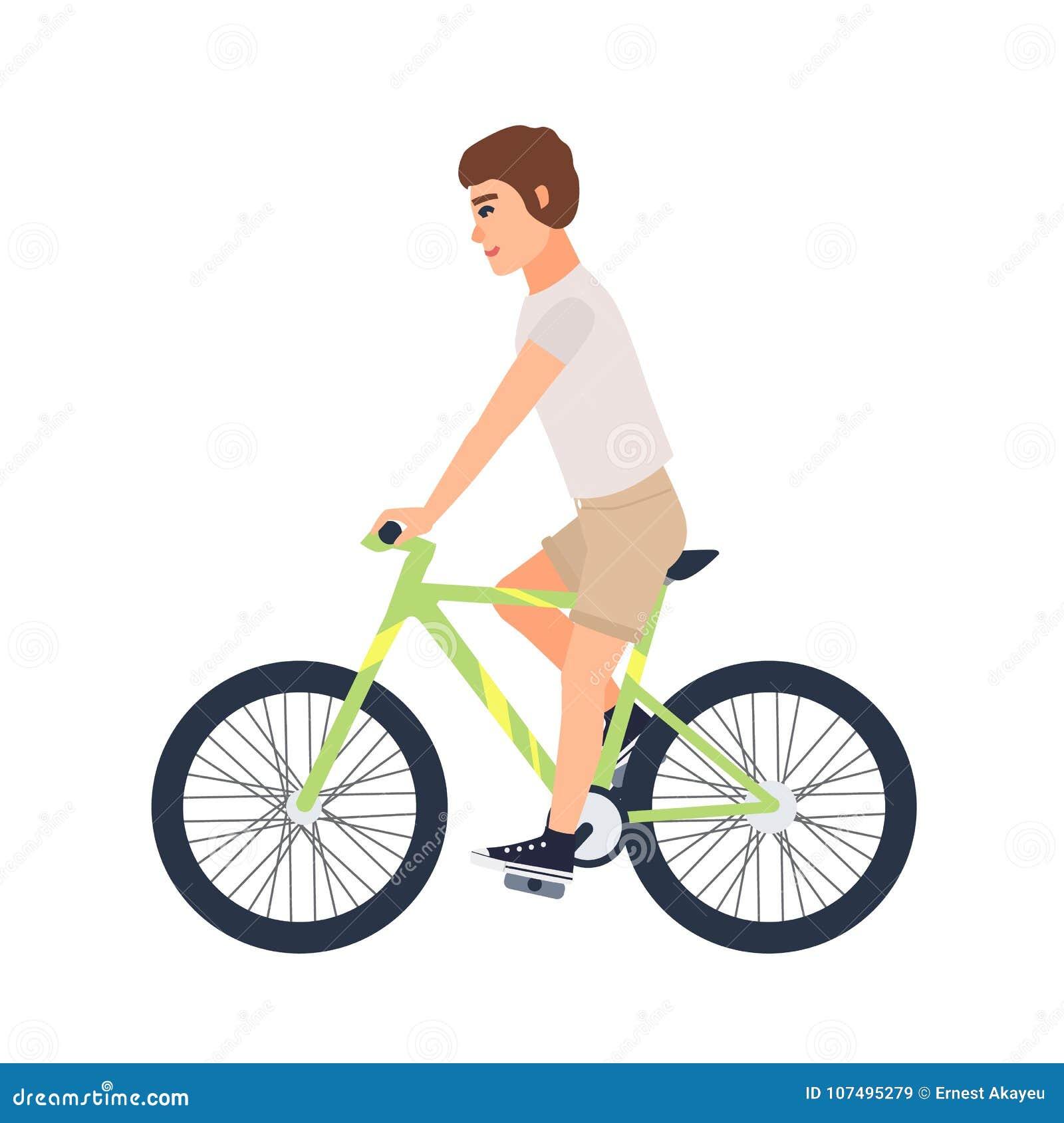 Cykel för ridning för tillfälliga kläder för man eller för pojke iklädd Plan manlig t-skjorta och kortslutningar för tecknad film
