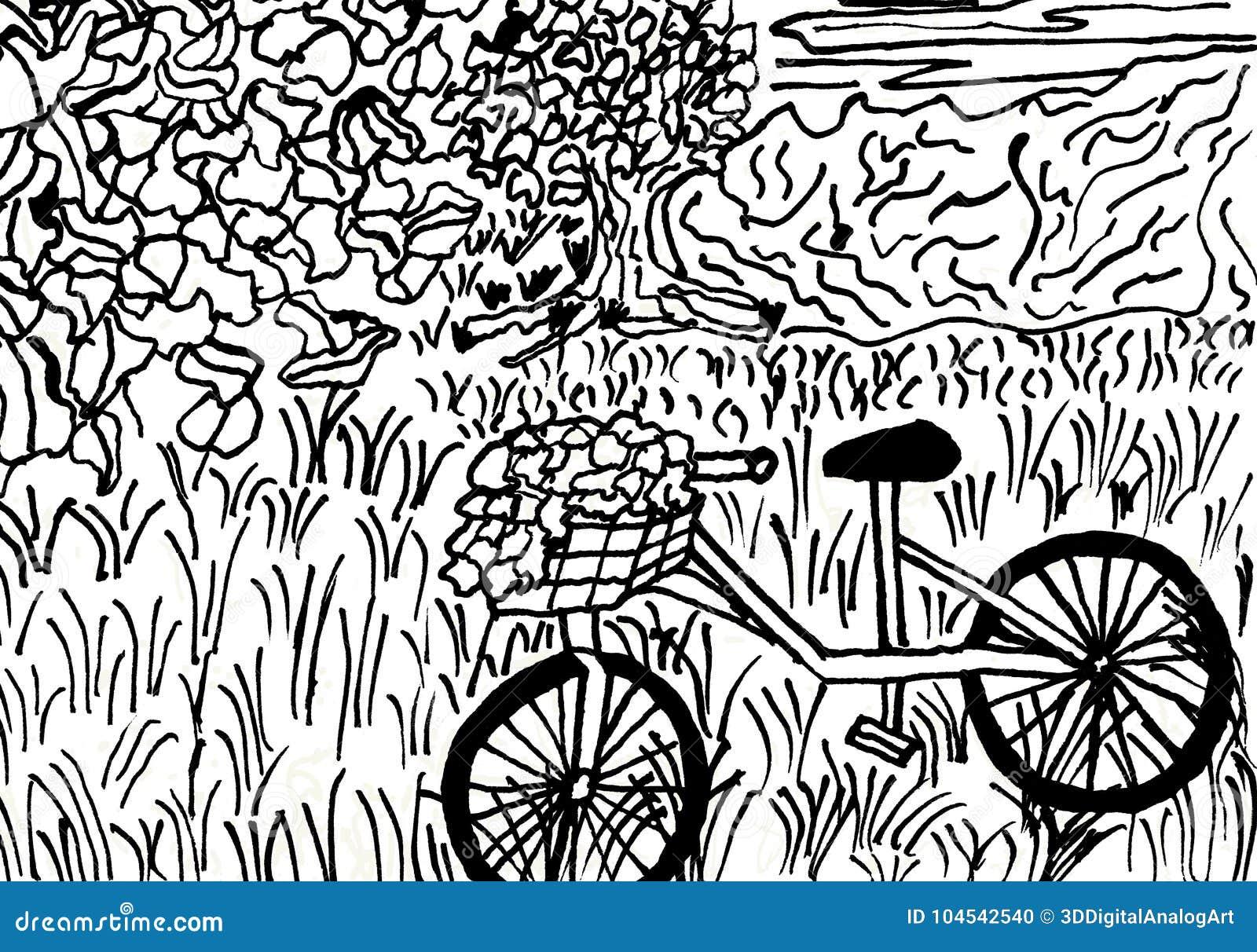 Cykel med en blommakorg i ett fridsamt landskap