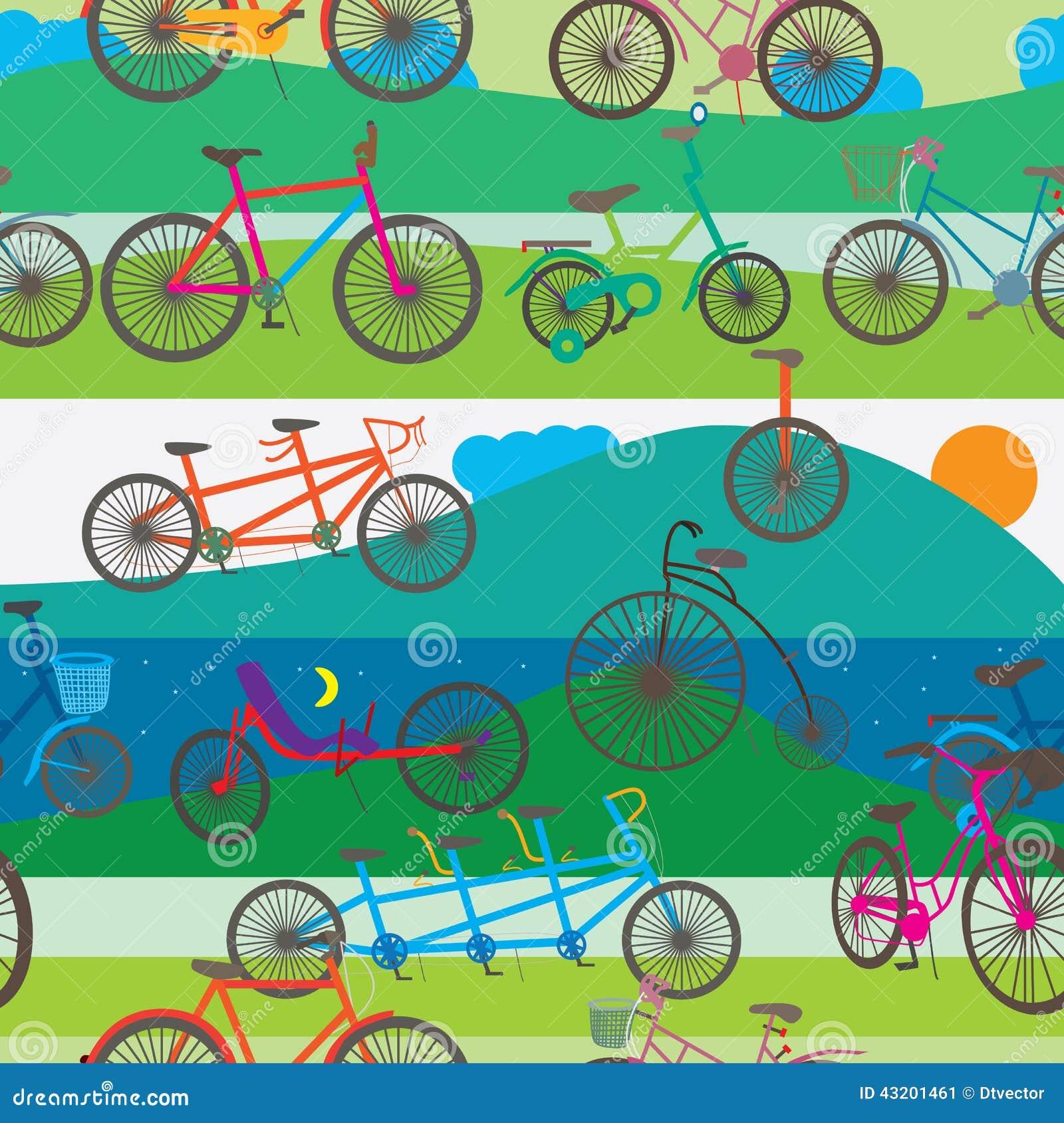 Download Cykel Som Fotvandrar Den Sömlösa Modellen Vektor Illustrationer - Illustration av utrustning, teckning: 43201461