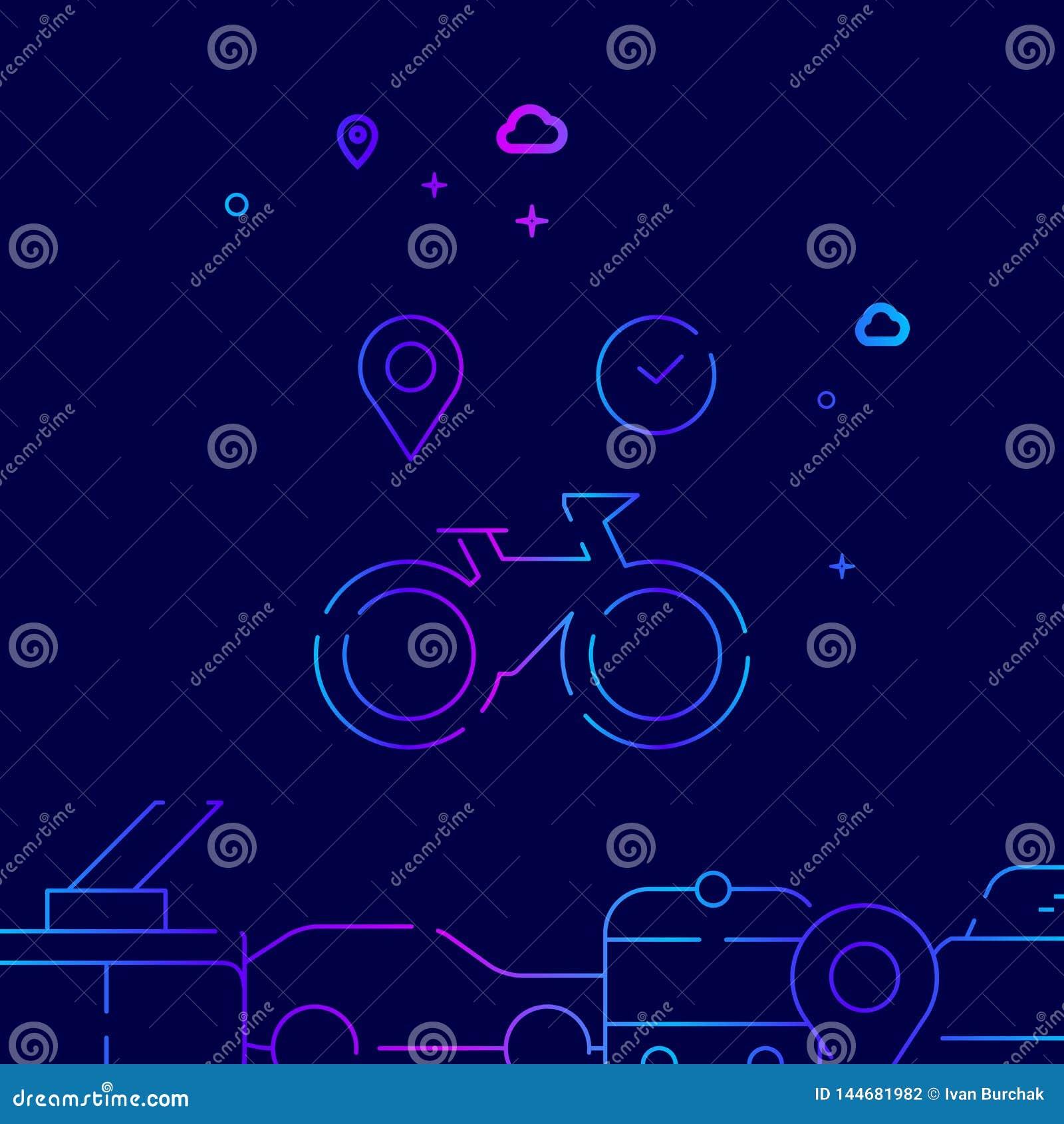 Cykla eller cykla den uthyrnings- vektorlinjen symbolen, illustration p? ett m?rkt - bl? bakgrund Sl?kt nedersta gr?ns