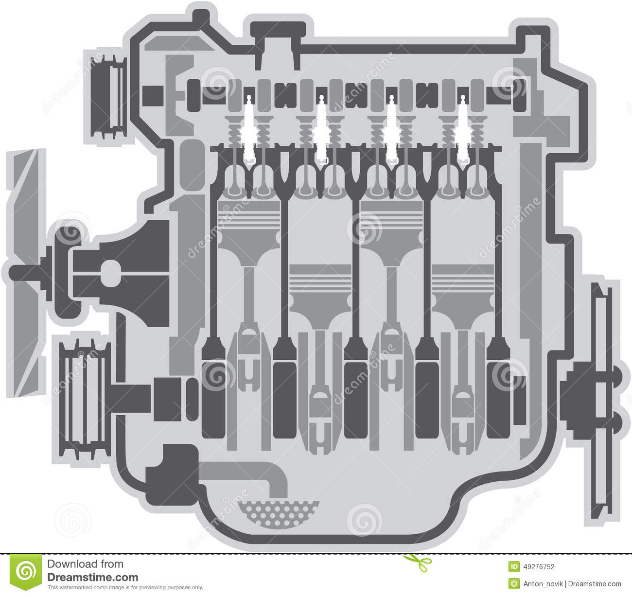 4 cylinder engine vector stock vector illustration of engineering rh  dreamstime com 2001 toyota camry 4 cylinder engine diagram 2000 honda  accord 4 cylinder ...