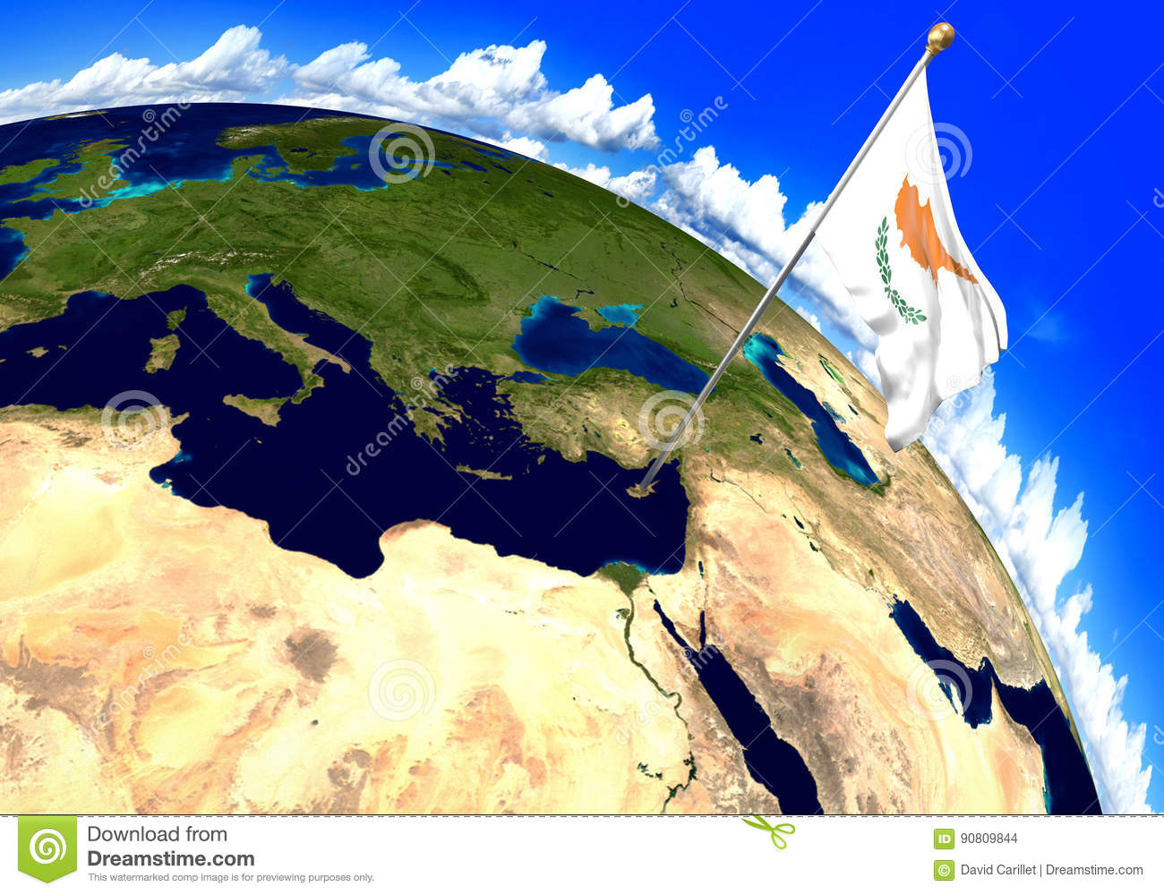 Where Is Cyprus Located On The World Map.Cyprus National Flag Marking The Country Location On World Map 3d