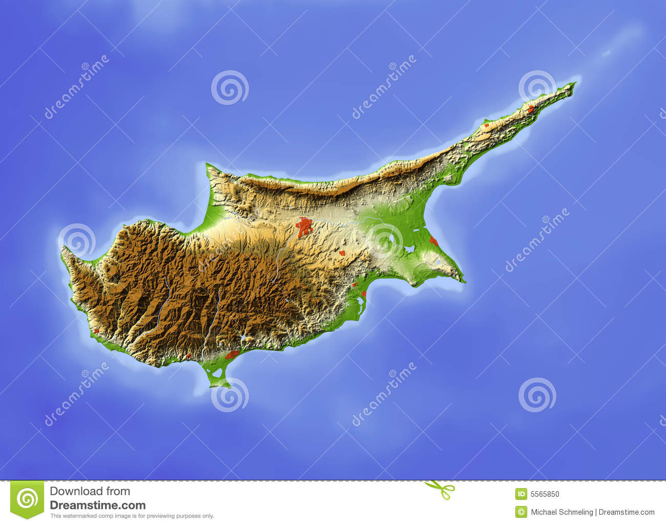 Cyprus, relief map