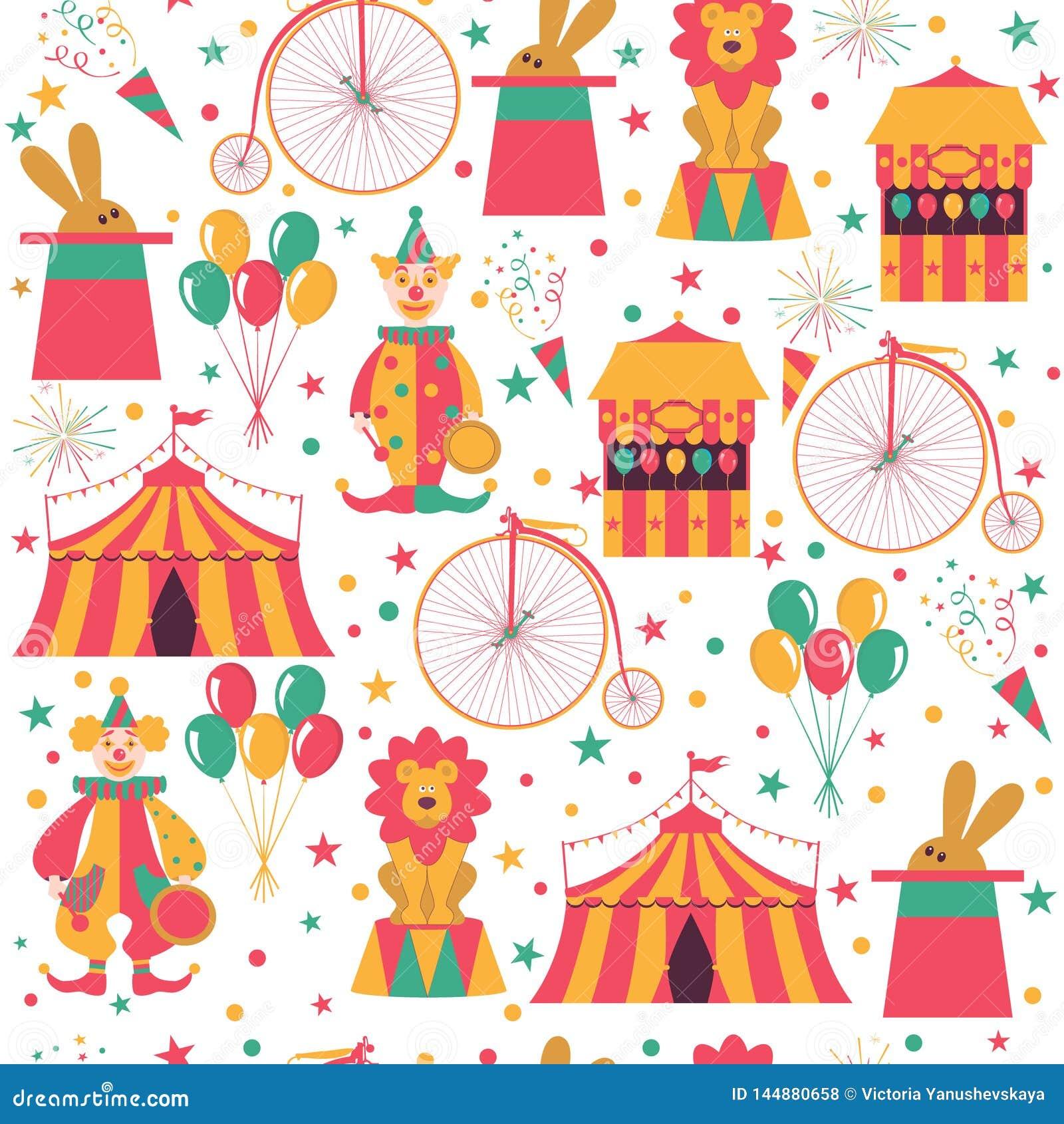 Cyrka wzór z błazenem, rowerem, balonami, królikiem w kapeluszu i lwem,
