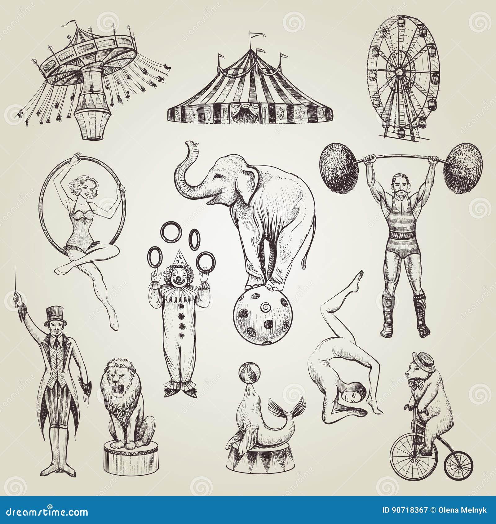 Cyrkowa ręka rysować rocznik wektorowe ilustracje ustawiać