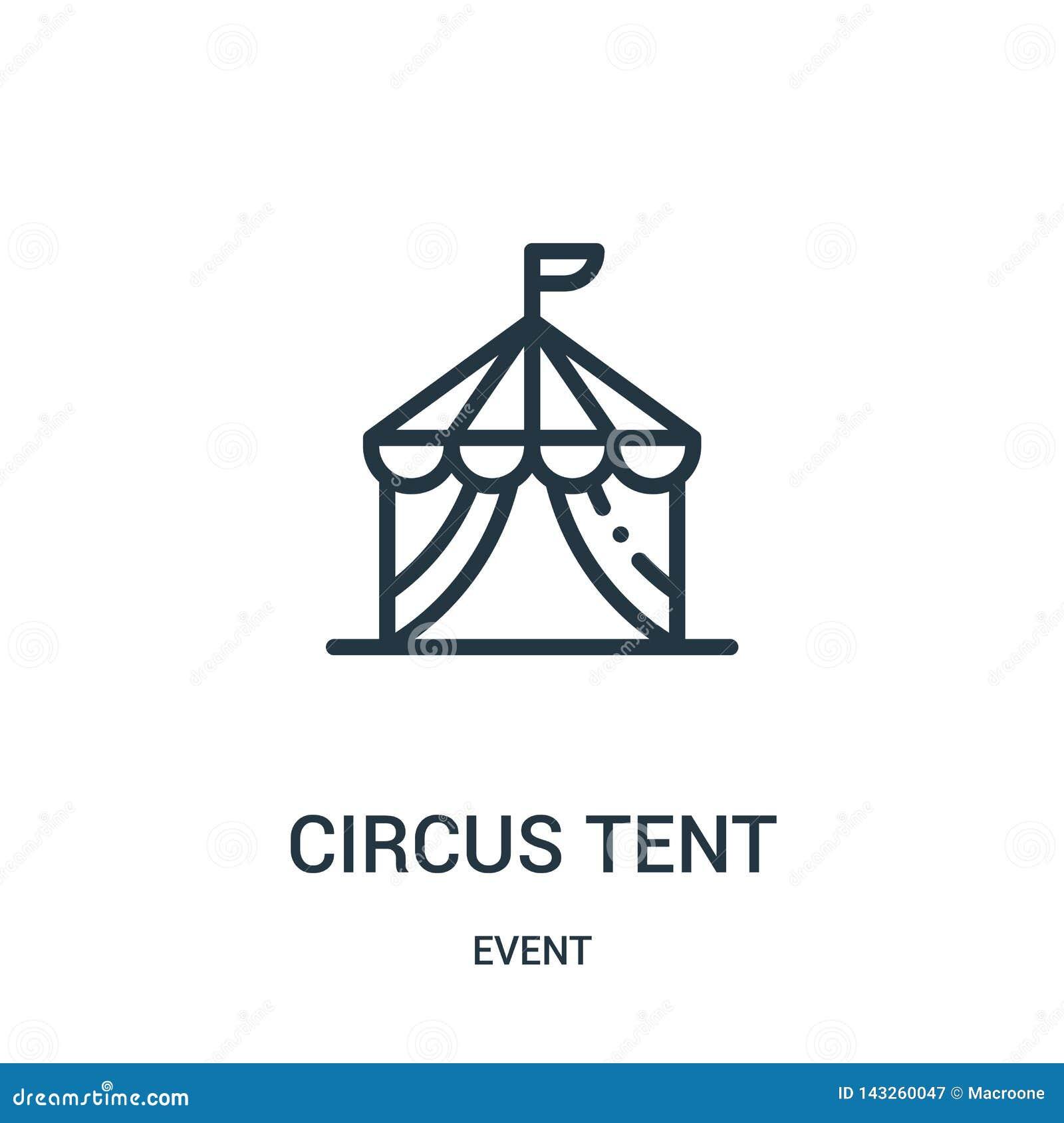 Cyrkowego namiotu ikony wektor od wydarzenie kolekcji Cienka kreskowa cyrkowego namiotu konturu ikony wektoru ilustracja