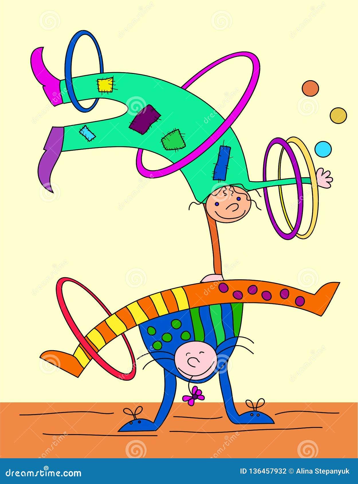 Cyrkowi artyści: akrobaci - jugglers Występ w circus_illustration dla dzieci