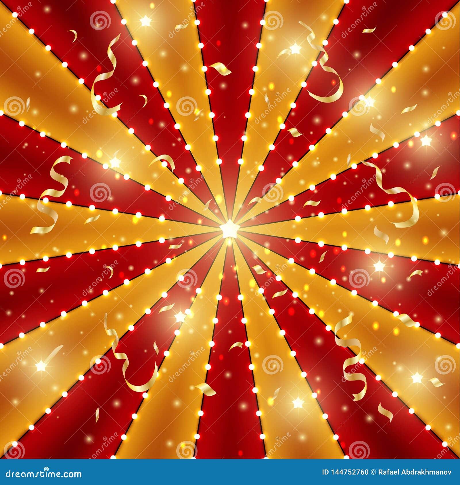Cyrkowy tło czerwień i złoto linii lampas z gwiazdowymi gwiazdozbiorami, żarówkami i świecidełkiem, Retro słońce promien