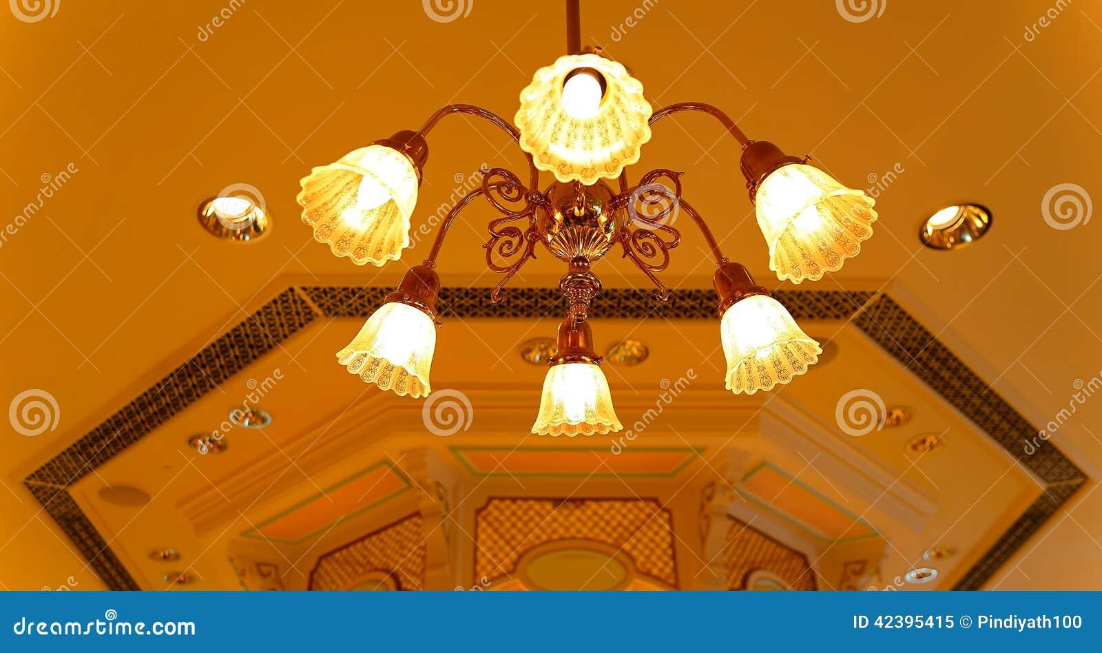 Cystal light fixture on ceiling