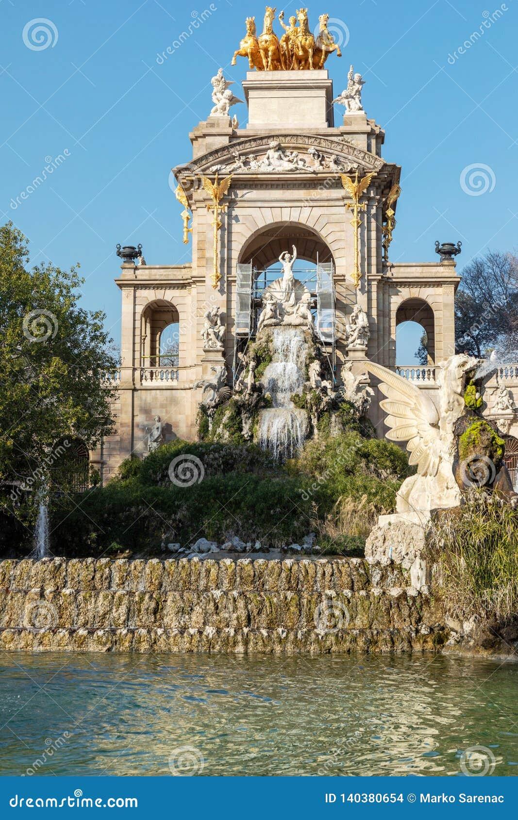 Cytadele Część Barcelona staw tropikalny krajobrazu Miastowy Park