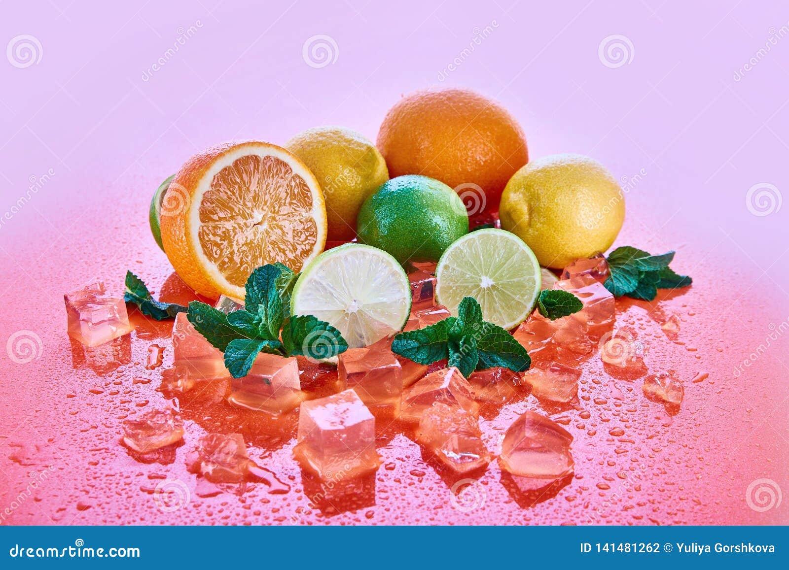 Cytrus owoc: wapno, pomarańcze, cytryna z mennicą i kostka lodu na koralowym tle, Świeże lato owoc