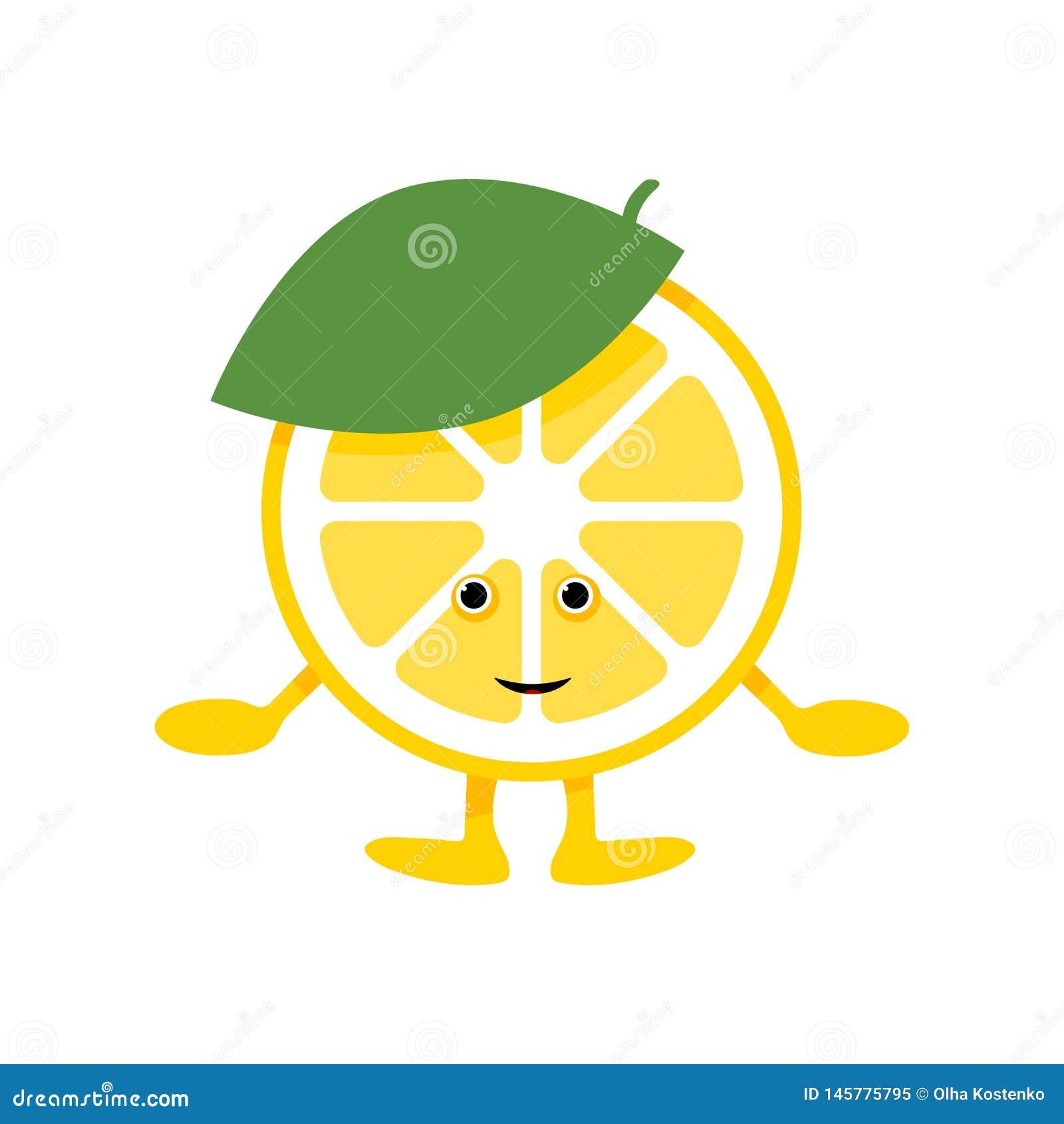 Cytryna u?miechu ?liczny charakter Kreskówki żółta owoc odizolowywająca