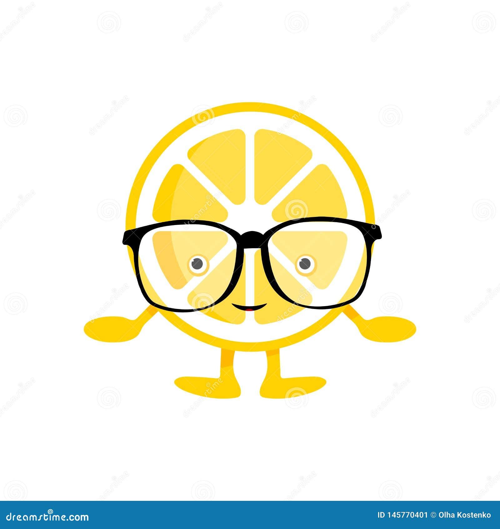 Cytryna u?miechu ?liczny charakter Kreskówki żółta owoc w szkłach odizolowywających