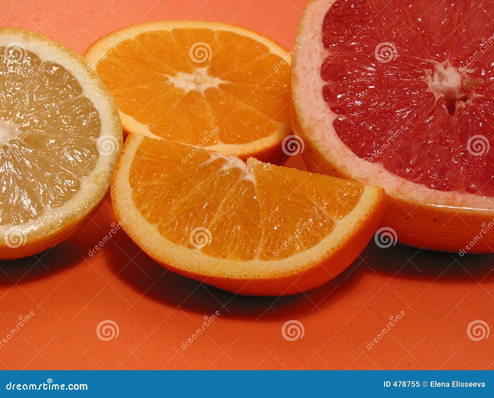 Cytryny grapefruitowa pomarańcze