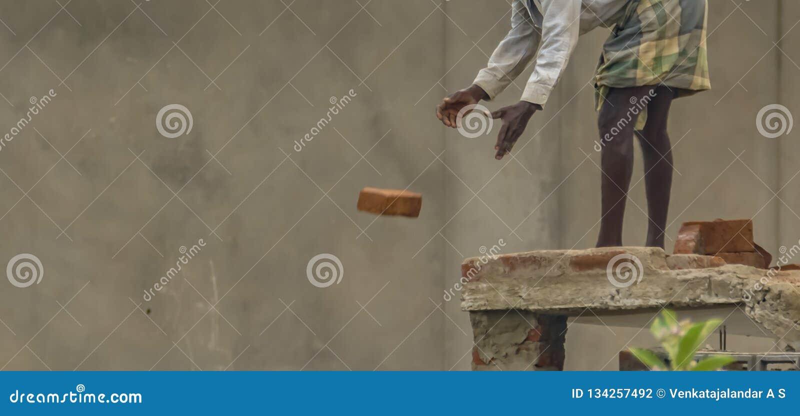 Cywilny pracownik budowlany lub kamieniarz w India