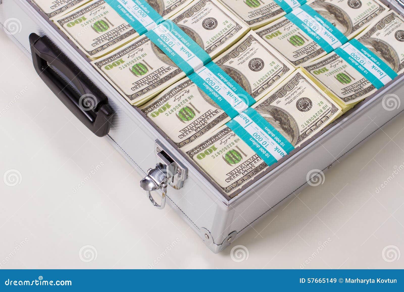 Część metal skrzynka z dolarami