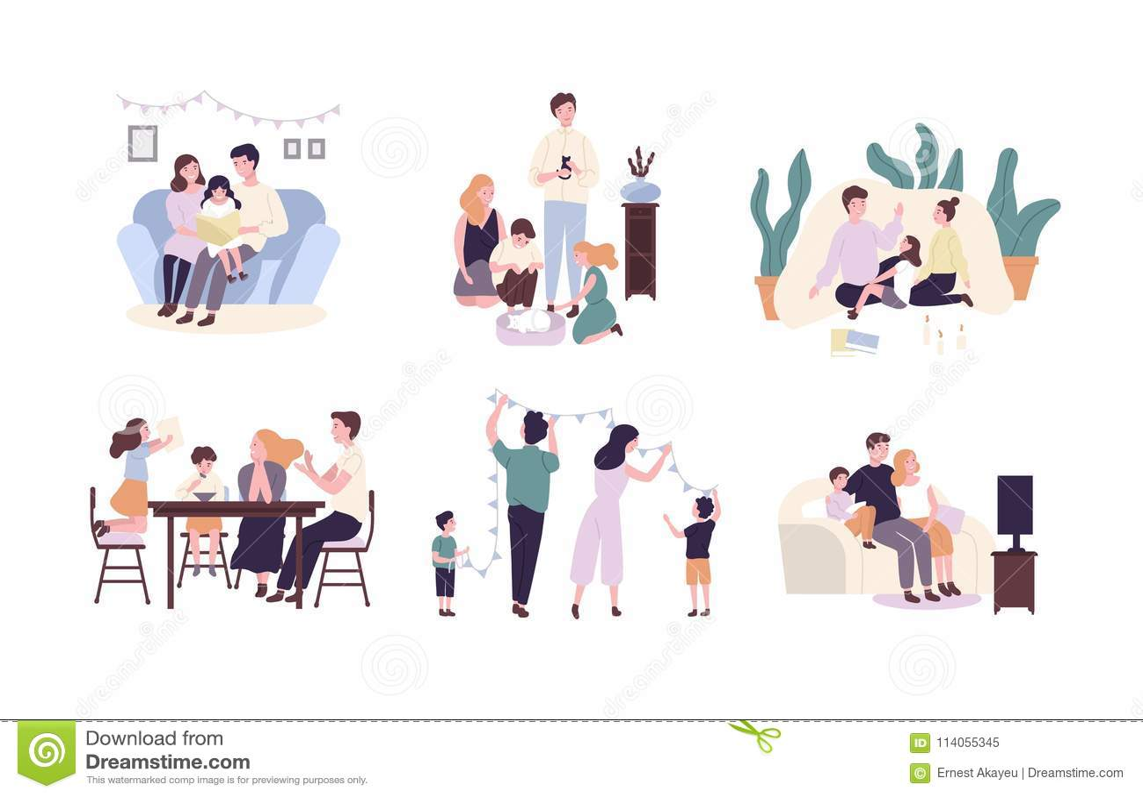Członkowie rodziny wydaje czas wpólnie w domu Matka, ojciec i dziecko czytelnicza książka, dekorujący dom, ogląda TV
