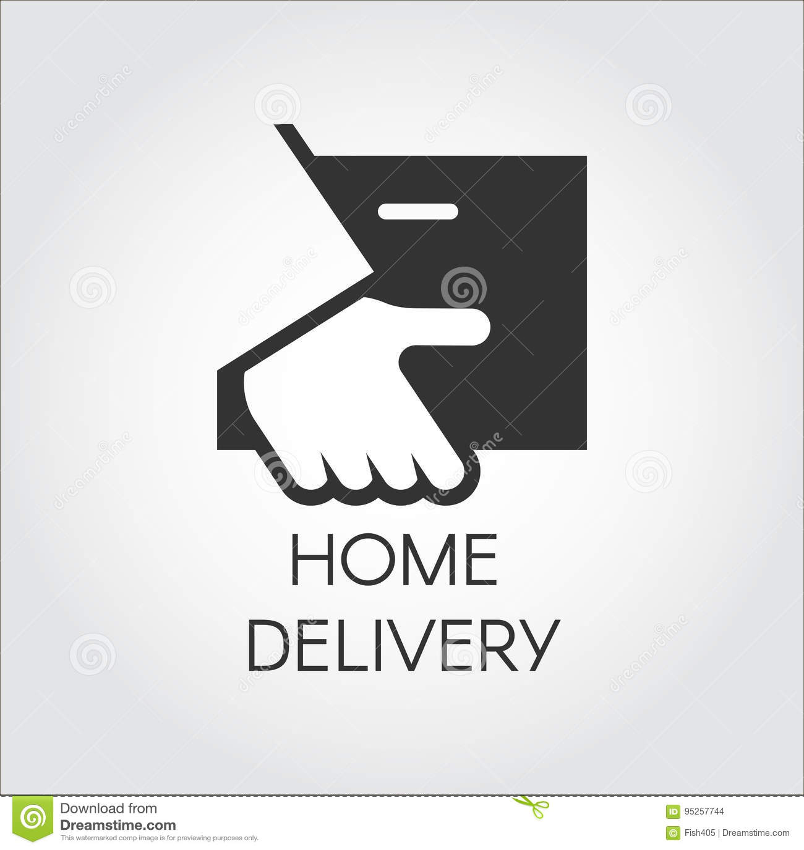 Czarna ikona ręki mienia pakuneczek w mieszkanie stylu Domowa dostawa, post i dogodny usługowy pojęcie logo,