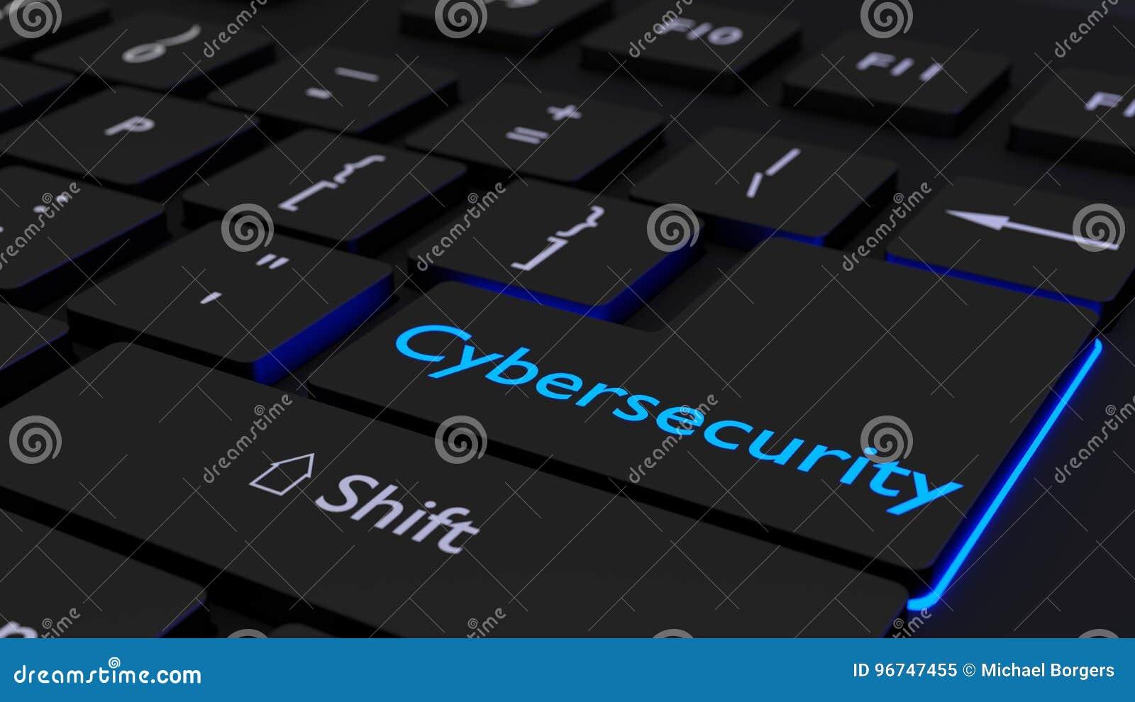 Czarna klawiatura z rozjarzonym cybersecurity wchodzić do klucz