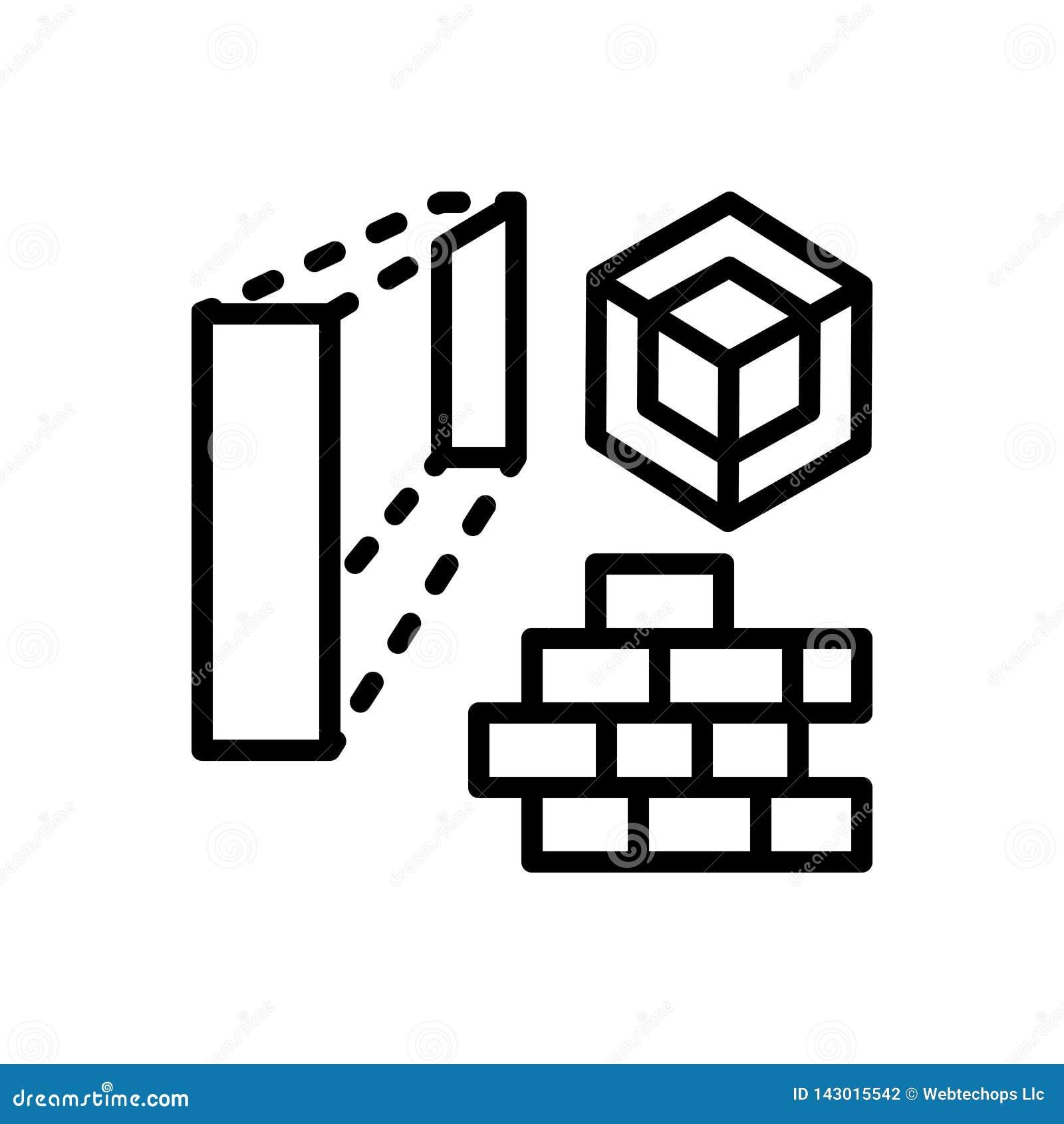 Czarna kreskowa ikona dla architektury, domu i cegły,