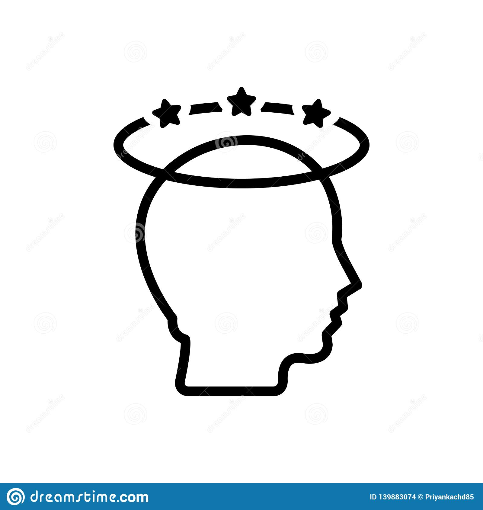 Czarna kreskowa ikona dla depresji, migreny i stresu,