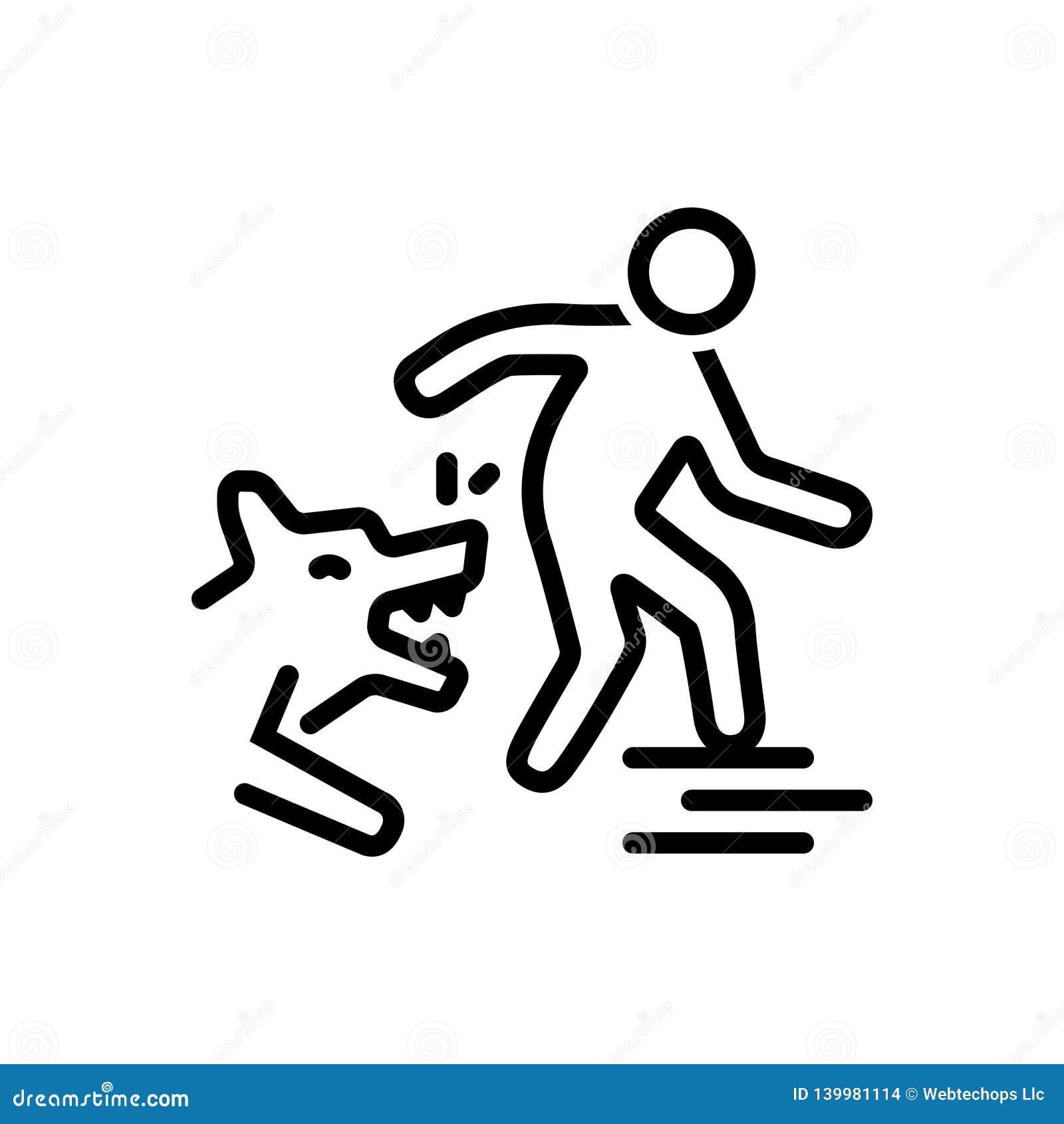 Czarna kreskowa ikona dla ukąszenie psa, ataka i zwierzęcia,