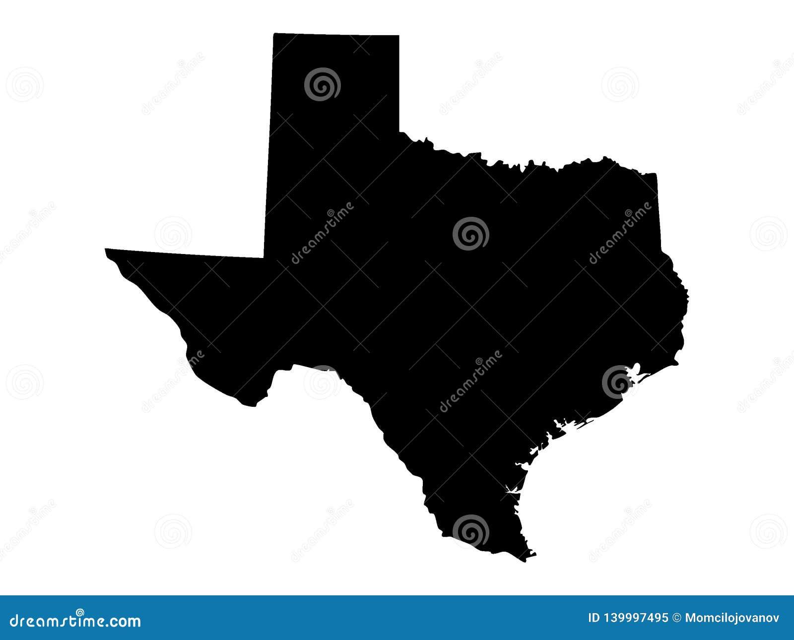 Czarna mapa usa stan Teksas