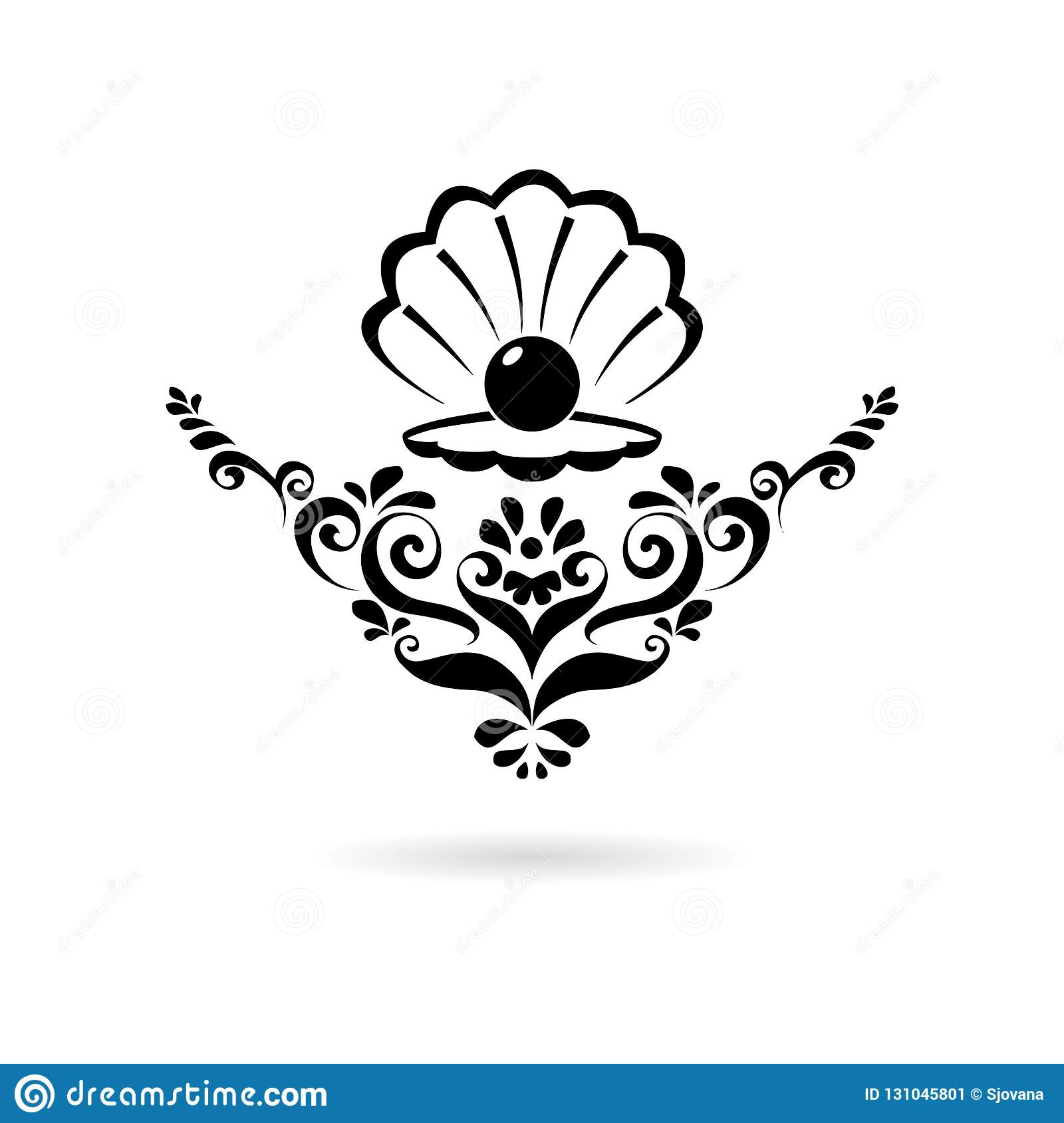 Czarna morze perła w otwartej skorupie, kwiecistego ornamentu ikonie lub logo,