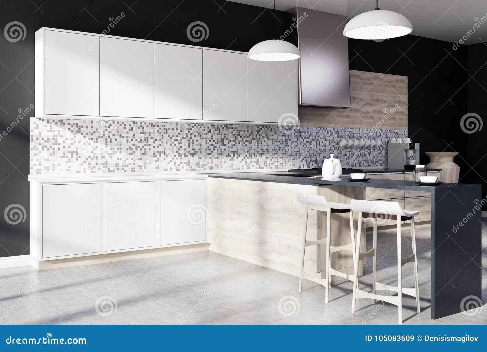 Czarna Mozaiki Kuchnia Bar Strona Ilustracji Ilustracja