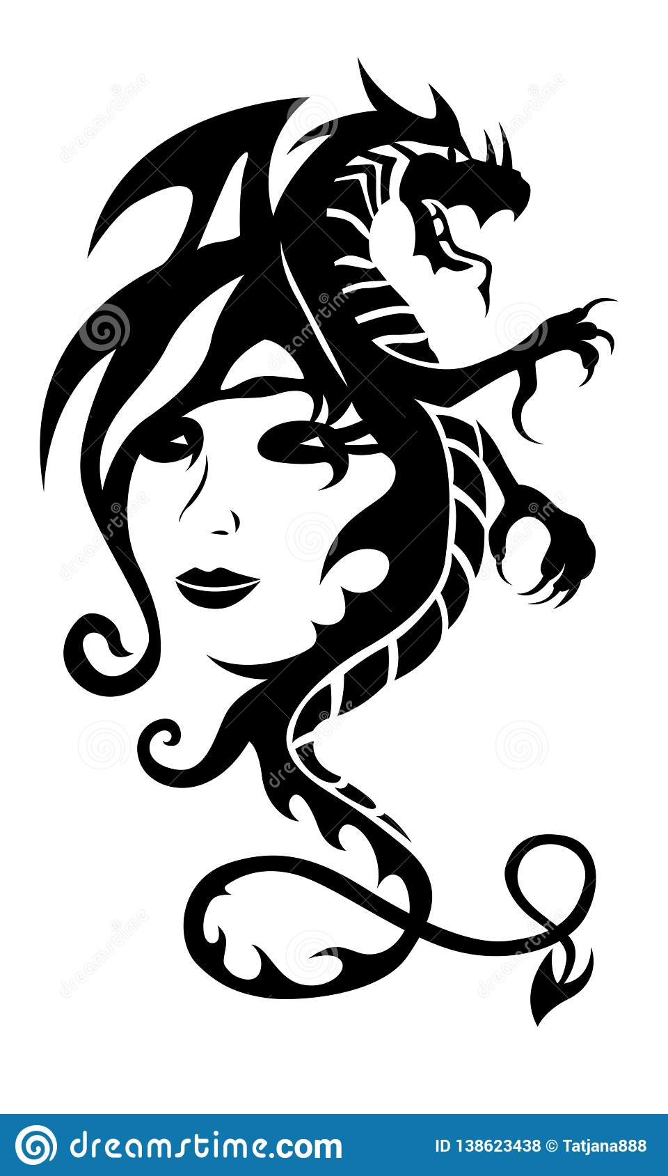 Czarna Plemienna Smok Kobieta I Tatuaż Stawiamy Czoło Na