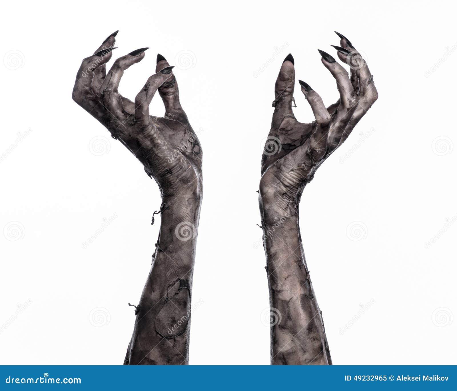 Czarna ręka śmierć chodzący nieboszczyk, żywego trupu temat, Halloween temat, żywy trup ręki, biały tło, mamuś ręki