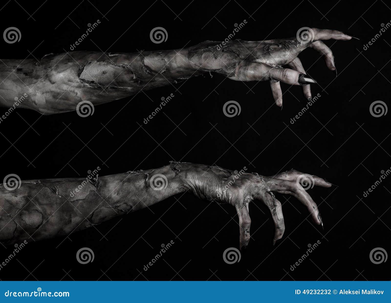 Czarna ręka śmierć chodzący nieboszczyk, żywego trupu temat, Halloween temat, żywy trup ręki, czarny tło, mamuś ręki